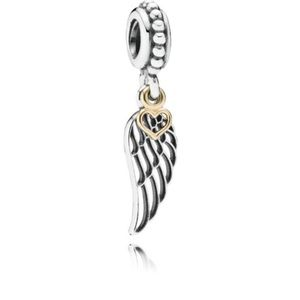 Pandora gold and silver angel wing